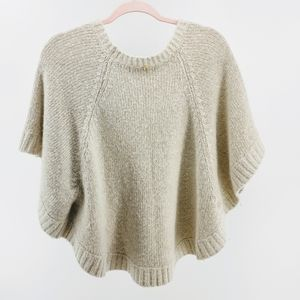 Michael Kors Cream & Gold Knit Poncho Small